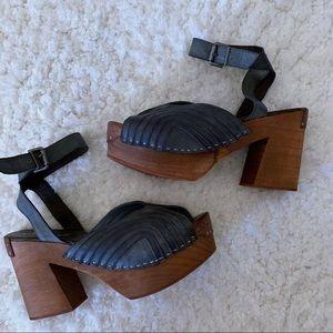 Free People Blue Leather Wood Platform Heels SZ 40
